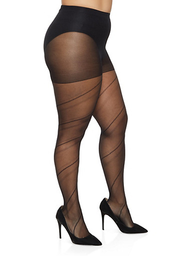 Plus Size Solid Footed Tights,BLACK,large