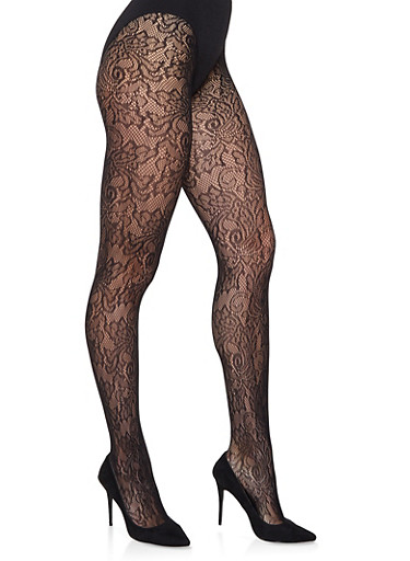 Patterned Fishnet Stockings,BLACK,large
