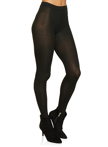 Footed Sweater Knit Tights,BLACK,large