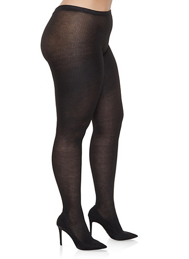 Plus Size Sweater Knit Tights,BLACK,large