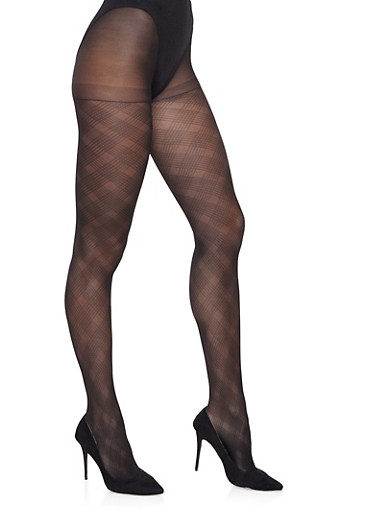 Jacquard Footed Tights,BLACK,large
