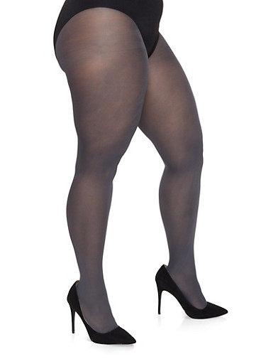 Plus Size Solid Tights,GRAY,large