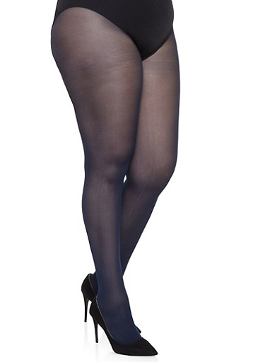 Plus Size Solid Tights,NAVY,large