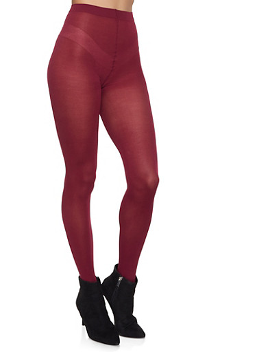 Plus Size Solid Tights,WINE,large