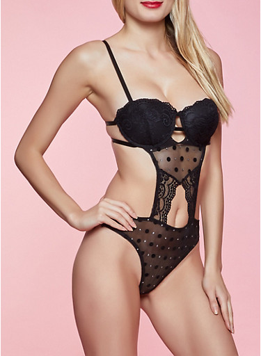 Lace Keyhole Teddy,BLACK,large