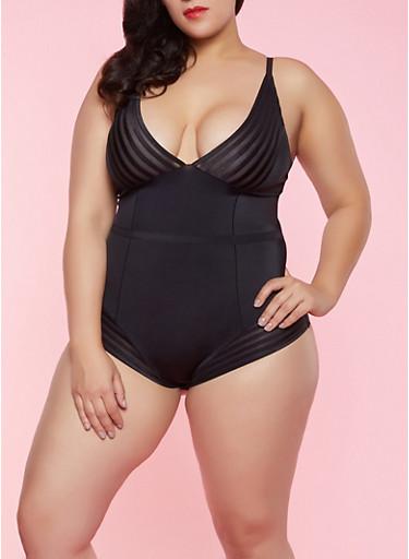 Plus Size Shadow Stripe Shapewear Bodysuit,BLACK,large