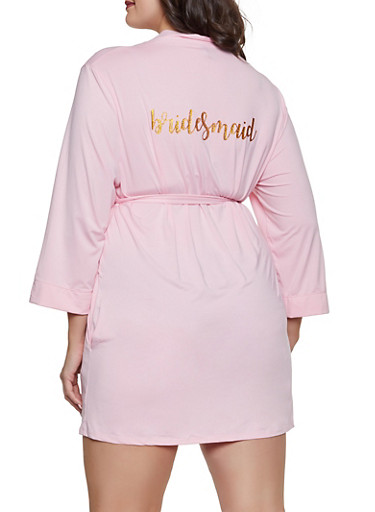 Glitter Bridesmaid Graphic Robe,PINK,large