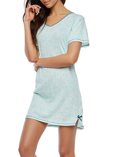 Printed Sleep Shirt,MINT,large