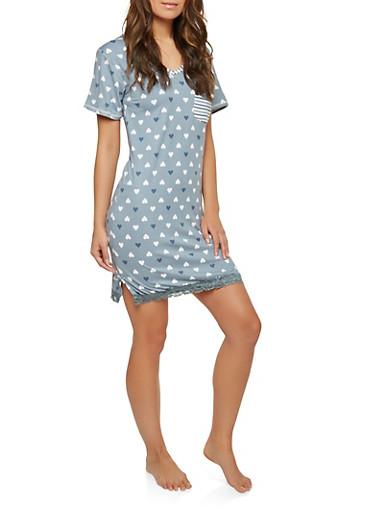 Heart Print Lace Trim Sleep Shirt,BABY BLUE,large