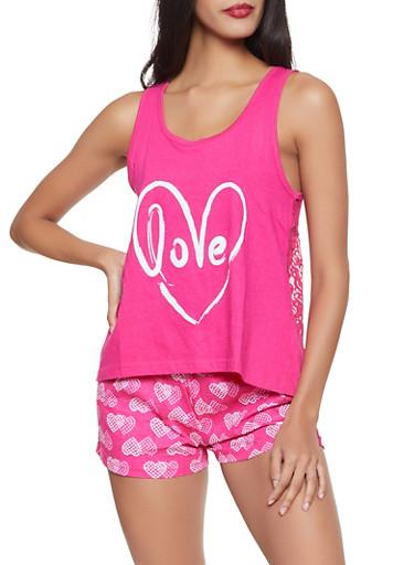 Love Lace Pajama Tank Top and Shorts,FUCHSIA,large