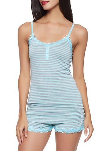Striped Pajama Cami and Shorts Set,MINT,large
