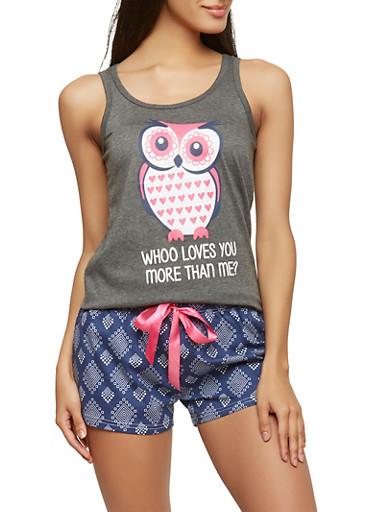 Owl Graphic Pajama Set,GRAY,large