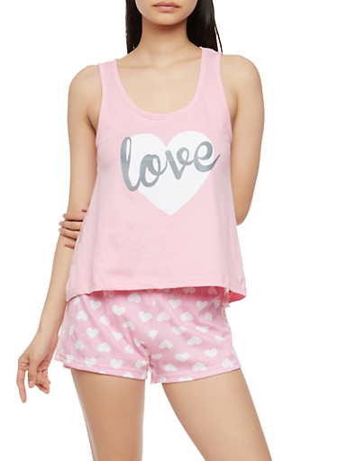 Love Graphic Pajama Set,PINK,large