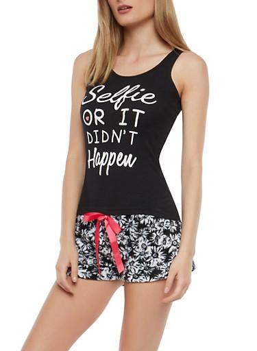 Graphic Tank Top and Fleece Shorts Pajama Set,BLACK,large