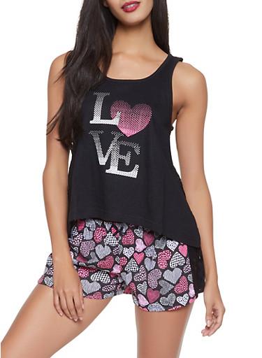Love Heart Graphic Pajama Tank Top and Shorts Set,BLACK,large