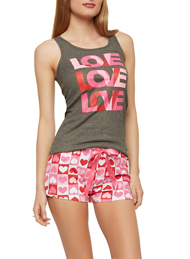 Love Graphic Tank Top and Heart Shorts Pajama Set,HEATHER,large