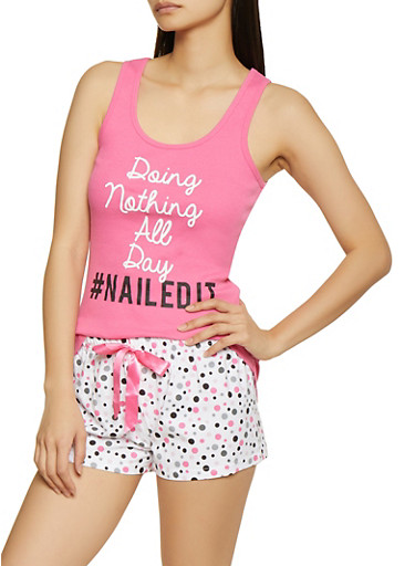 Doing Nothing All Day Pajama Tank Top and Shorts Set,PINK,large