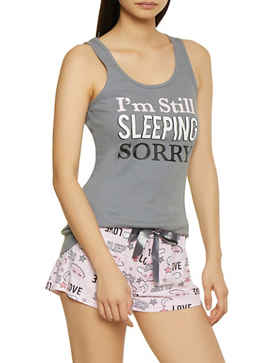 Im Still Sleeping Sorry Pajama Tank Top and Shorts Set,HEATHER,large