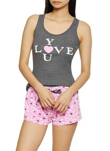 Love You Pajama Tank Top and Shorts Set,HEATHER,large