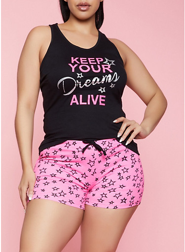 Plus Size Keep Your Dreams Alive Pajama Tank Top and Shorts,BLACK,large