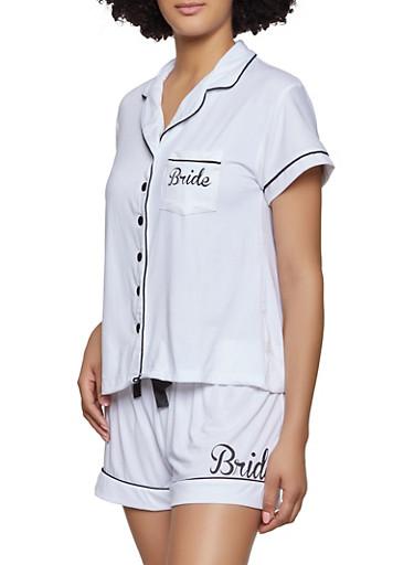 Bride Graphic Pajama Shirt and Shorts Set,WHITE,large