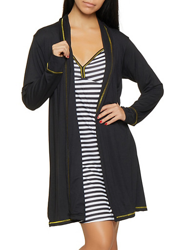 Striped Pajama Teddy and Robe Set,BLACK,large