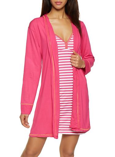 Too Tired to Talk Fuchsia Robe and Striped Chemise Set,FUCHSIA,large