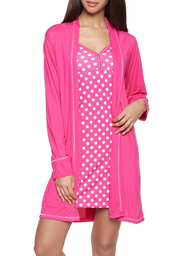 Polka Dot Pajama Teddy and Robe Set,FUCHSIA,large