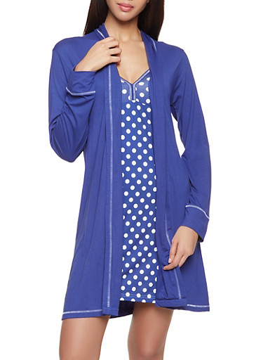 Polka Dot Pajama Teddy and Robe Set,NAVY,large