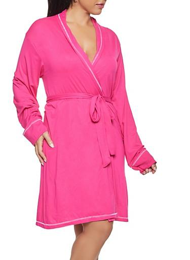 Plus Size Polka Dot Pajama Teddy and Robe Set,FUCHSIA,large