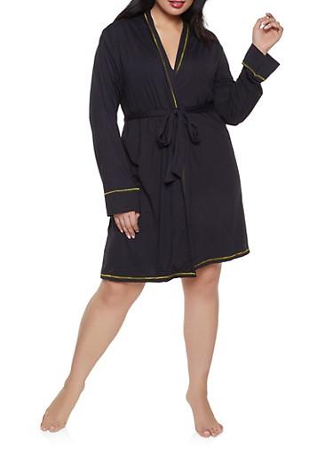 Plus Size Love Robe and Chemise Set,BLACK,large