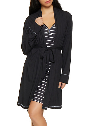 Always Flawless Graphic Robe and Chemise Set,BLACK,large