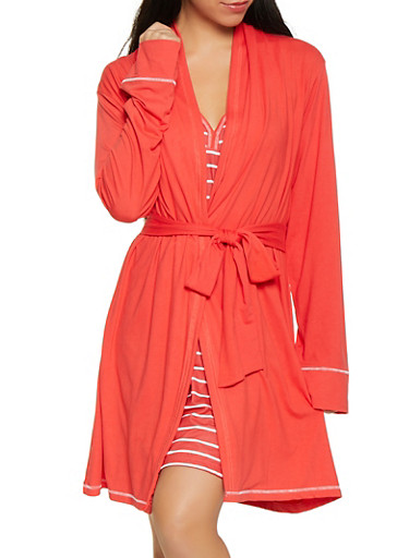Love Always Wins Red Robe and Striped Chemise Set,RED,large