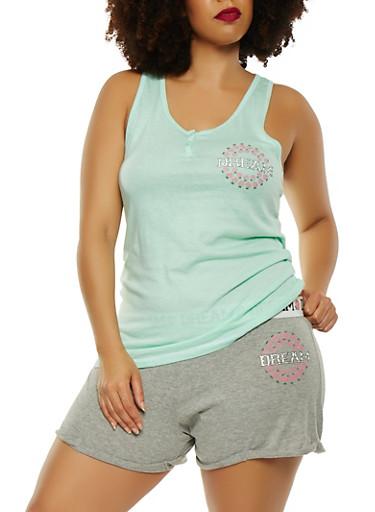 Plus Size Graphic Racerback Top with Shorts Pajama Set,MINT,large