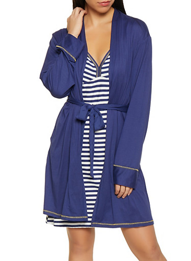 Breakfast Crew Robe and Striped Chemise Set,NAVY,large