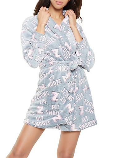 Hit Snooze Plush Robe,GRAY,large