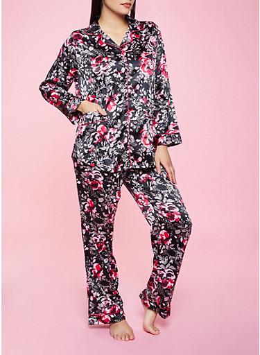 Satin Floral Pajama Top and Pants Set,BLACK,large