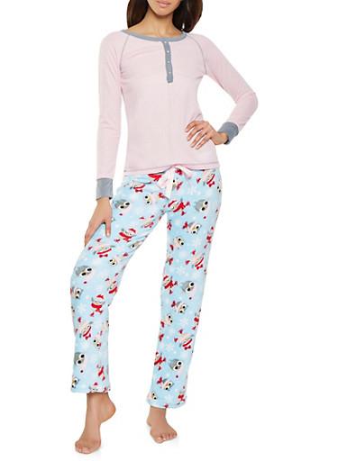 Thermal Henley and Fleece Bottom Pajama Set,PINK,large