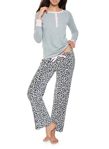 Half Button Pajama Top and Bottom Set,GRAY,large