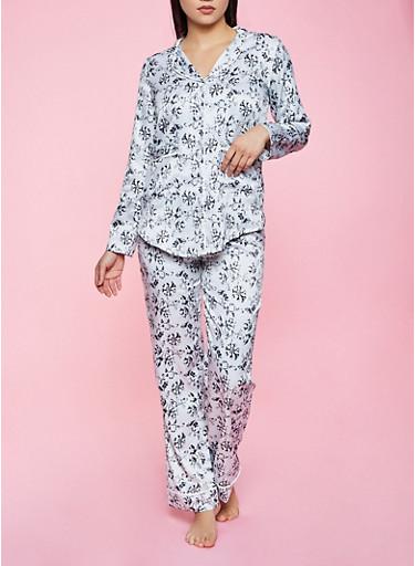 Floral Satin Pajama Top and Pants Set,GRAY,large