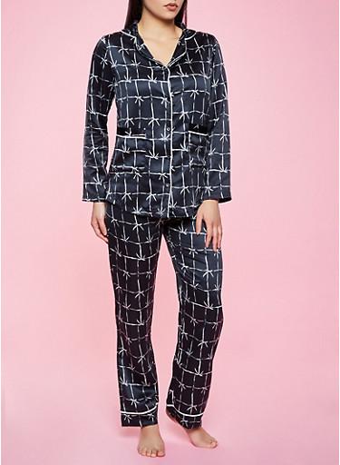 Windowpane Plaid Pajama Top and Pants Set,BLACK,large
