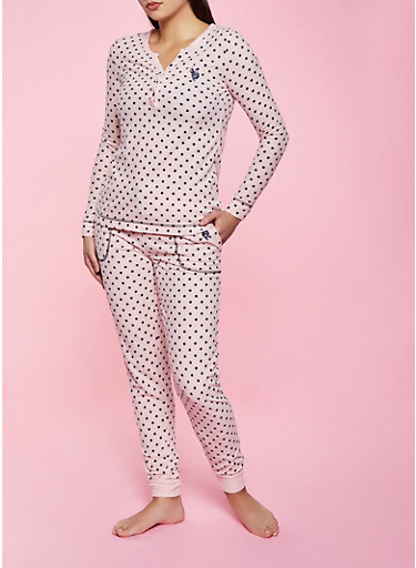 Polka Dot Thermal Pajama Top and Pants Set,PINK,large
