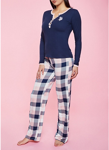 Half Button Pajama Top and Pants Set,NAVY,large