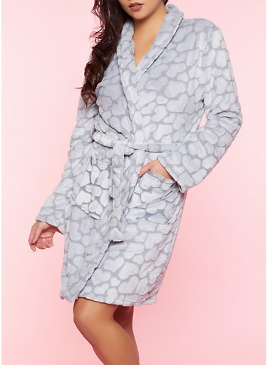 Heart Print Plush Bath Robe,HEATHER,large