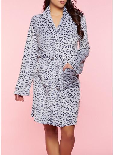 Animal Print Plush Robe,HEATHER,large