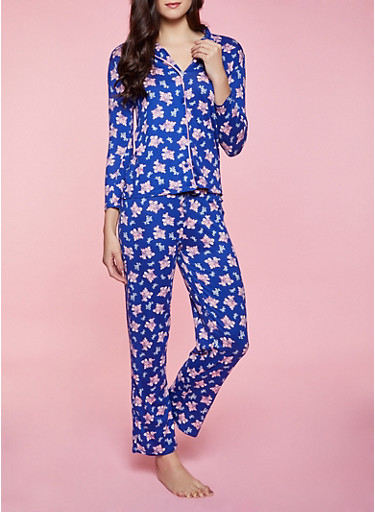 Floral Pajama Top and Pants Set,NAVY,large