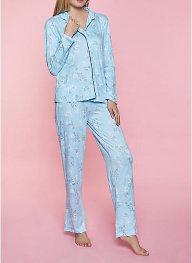 Printed Pajama Shirt and Pants,BABY BLUE,large