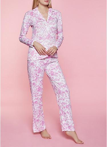 Floral Collared Pajama Top and Pants Set,PINK,large