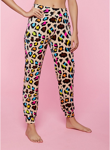 Leopard Print Pajama Joggers,TAN,large