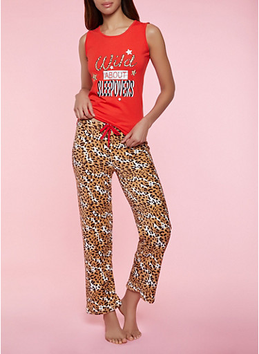 Wild About Sleepovers Pajama Tank Top and Pants Set,RED,large